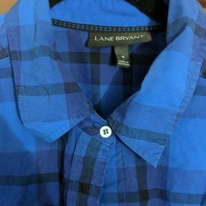 Lane Bryant Tops - Lane Bryant Blue & Purple Plaid Button Down